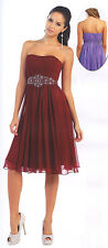 19 Colors Short Chiffon Bridesmaid Evening Formal Party Cocktail Dress Gown 4~26