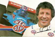 1981 MARIO ANDRETTI signed INDIANAPOLIS 500 PHOTO CARD INDY CAR STP RACING