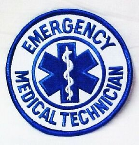 EMT Emergency Medical Star of Life Embroidered Shoulder Chest Patch White Royal