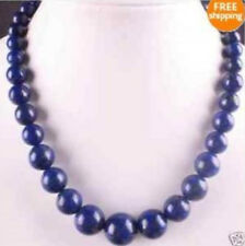 Natural 6-14mm Lapis Lazuli Round Beads Necklace 17''