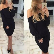 Womens Long Sleeve Off Shoulder Batwing Tunic Sheath Dress Top Bodycon Stretch