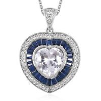 "Heart Pendant Necklace White Blue Cubic Zirconia CZ Gift For Women Size 20"" Ct 9"