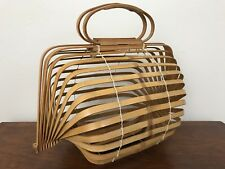 Vintage 1950's Pinup Japanese Folding Bamboo Basket Handbag Purse VLV