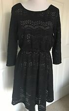 PERFECT LITTLE BLACK DRESS - BY AS YOU WISH - SMALL - BLACK LACE OVER PINK