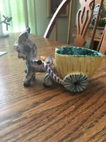 "Vintage Large Italy Majolica Pottery Donkey Cart Planter 7"" Shabby Chic"