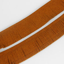 Brown Faux Suede Leather Fringe Tassel Trimming Lace Height 25mm x 1.75 Meter