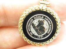 1991 1/20 OZ Australian Koala Solid Platinum Coin Black Onyx & 14kt Gold Frame