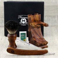 CLASS Wooden Shaving Set For Men's With Black Badger Hair Brush & Straight Razor