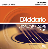3 Sets D'Addario EJ42 Phosphor Bronze Resophonic Acoustic Guitar Strings 16-56
