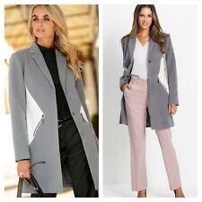 Bonprix @ Kaleidoscope Size 12 Grey Contrast White COAT Winter Warm Lapels £99
