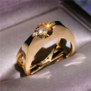 Sunshine 18K Gold Filled Ring for Women White Topaz Ring Jewelry Gift Size 6-10