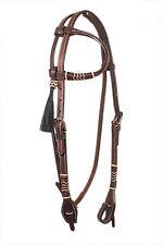 Western Dark Oil Rawhide Braided One Ear Head Stall With Horse Hair Tassel