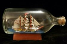 Vintage Sailing Ship in a Bottle Three 3 Masted Schooner  Nautical Wooden Stand