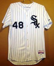 CHICAGO WHITE SOX ZACH STEWART White Pinstripe #48 GAME WORN Size 46 MLB JERSEY