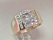 10K Solid Solid Gold 2 tones Yellow an d White 15 Cubic Zirconia Men`s Ring