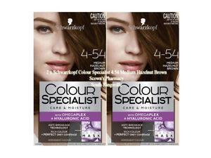 2 x Schwarzkopf Colour Specialist 4.54 Medium Hazelnut Brown 90% Less Breakage
