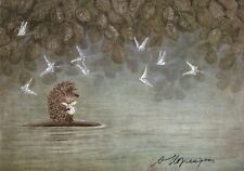 Hedgehog in the Fog Norstein's hand-signed high quality print (Hedgehog on Fish)
