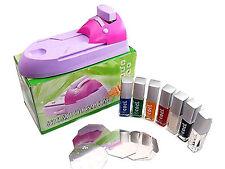 Nail Art Acrylic UV DIY Printing Machine Stamping Set + 7 Color Nail Art Paint