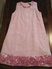 New NWOT Mini Boden Girl Pink Sequin Lined Linen Shift Dressy Dress Sz 11-12
