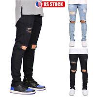 Mens Ripped Skinny Jeans Distressed Jogger Biker Slim Fit Denim Pants Trousers