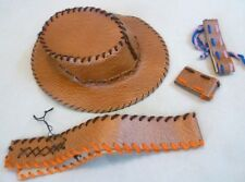Vintage Toy - Unrecognised (Pos Homemade) Leatherette Cowboy Hat etc - C1950/60s