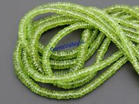 GREEN PERIDOT FACETED WHEEL SHAPE BEADS NATURAL GEMSTONE 8 inch STRAND GV-484