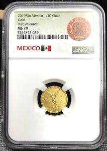 2019 Mo Mexico 1/10 Onza Gold Libertad - 1/10 oz. - First Releases - NGC MS70