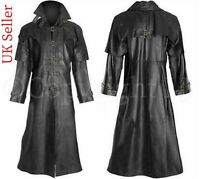 Men's Fashion Jacket Black Steampunk Van Helsing Matrix Trench Real Leather Coat