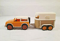 Vintage Schleich Farm Toys 4x4 Jeep Yellow with Horse Trailer Am Limes 69