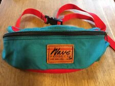 vtg 80s WAVE PRODUCTS fanny waist pack SLC UTAH cordura TEAL RED teardrop day