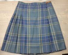Ralph Lauren Wrap Skirt 14 Pleated Below Knee Buckle Window Pane Plaid Blue Grn