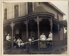 Family on Front Porch Victorian Home Vintage Photo Mounted, Adults & Children