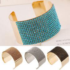 EG_ HK- Women's Fashion Wide Rhinestone Open Bangle Alloy Cuff Bracelet Jewelry