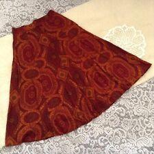 Women's 80's Sk & Company Multi Color Paisley Print Rayon Skirt Size Vintage 12