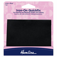 Black Quickfix Iron-On Cotton Patch Repair Clothing Cut To Size 11 x 25cm