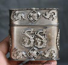 "3"" Rare Old China Silver Dynasty Palace Dragon Phoenix Cigarette box Coccoloba"