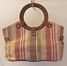 Women's Handbag Natural Woven Straw Multi Color Shoppers Tote GH BASS & CO