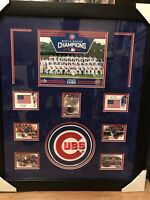 Chicago Cubs World Series Team photo W Autographed Bryant/Rizzo USA patch Framed