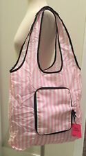 Victoria's Secret Packable Foldable Tote Lightweight Signature Pink white Stripe