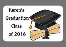 PERSONALISED,NEW SCHOOL, GRADUATION, STICKERS,GLOSSY LABELS, CAP & SCROLL