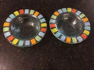 "(2) Bowls Villeroy & Boch ""Twist Alea Vitrum"" Coastal Colors Fused Glass EUC"