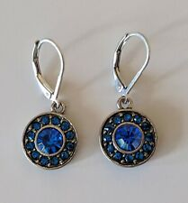 Sapphire Blue Crystal Lever Back Earrings Dangle Drop Silver-Tone 1.25""