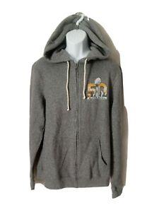 NFL Super Bowl 50 hooded  Full Zip Sweatshirt Fleece Jacket Size Large Gray