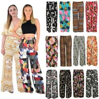 New Women Casual Flare Wide Leg Long Floral Printed Palazzo Baggy Trousers