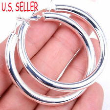 Women's 925 Sterling Silver 2 inch Large Round Circle Tubular Hoop Earrings F792