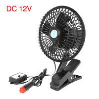 """6"""" 12V Car Clip On Oscillating Fan 2 Speed Black with Cigarette Lighter Plug"""