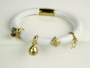 "ENDLESS White Leather Single Wrap Vermeil Sterling 4 Charm Bracelet -6.5"""