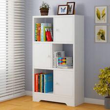 6 Cube Wooden Bookshelf Bookcase Shelving Display Shelves Storage With 3 Door