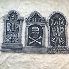Pack of 3 Halloween Decor RIP Graveyard Lightweight Foam Tombstone Halloween