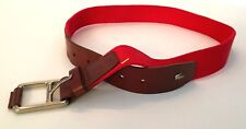 Lacoste Brown Leather & Red Woven Stretch Belt 25003 Size S